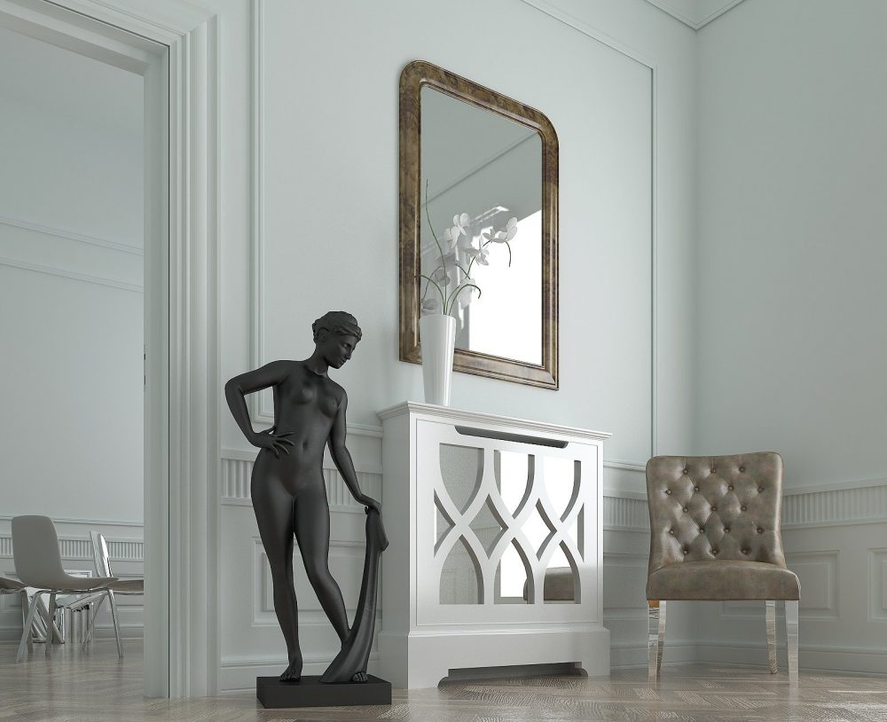 White Mirrored Radiator Cabinet