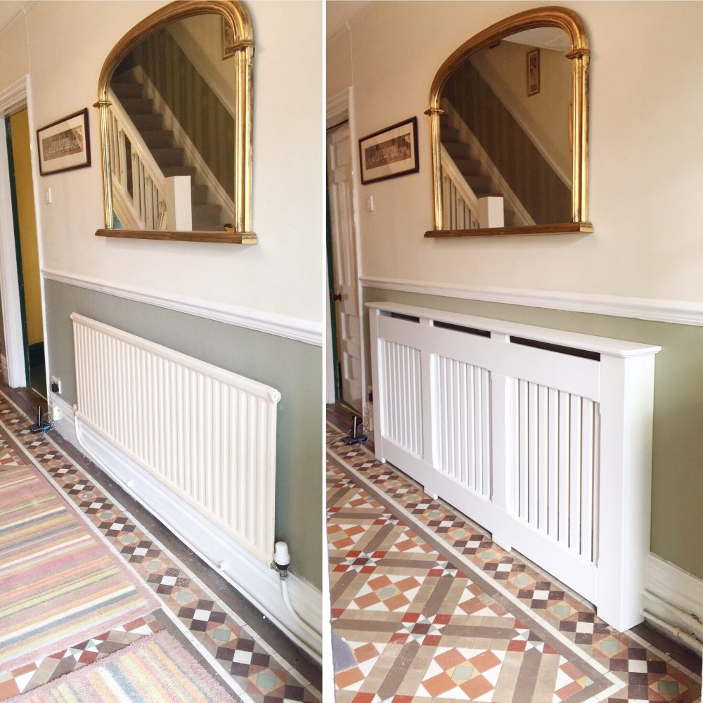 See the radiator with and without the radiator cover