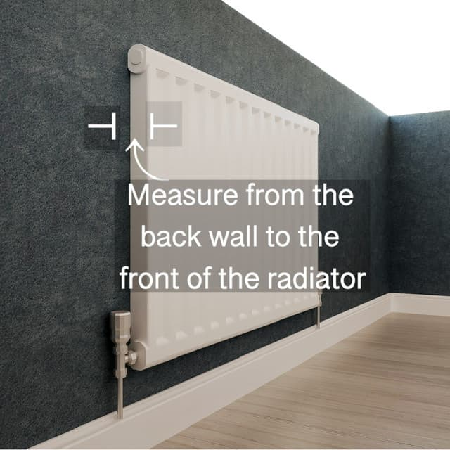 the depth of the radiator cabinet